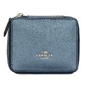 COACH珠光荔枝紋皮革珠寶飾品盒(藍色)198221-1