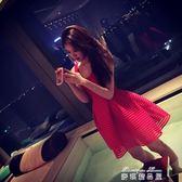 夏裝新款韓版圓領鏤空吊帶無袖高腰禮服小香風蓬蓬裙洋裝潮  麥琪精品屋
