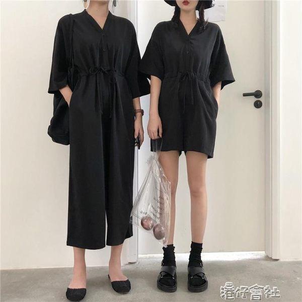 復古港風黑色休閒連身褲女夏季寬鬆顯瘦V領短袖連身褲長短款 港仔會社