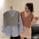 2021新款秋季寬鬆韓版中長款藍色長袖鹽系襯衫女學生兩件套上衣服 夏季新品