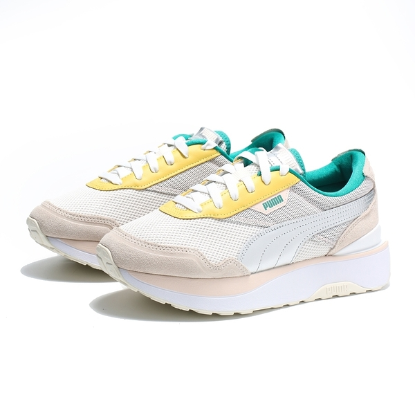 PUMA 休閒鞋 CRUISE RIDER QQ代言款 奶茶 銀邊綠黃 女 (布魯克林) 37507301