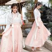 古裝冬季白菜漢服整套齊腰古裝女中國風過年古風超仙淡雅學生襦裙全套 伊蘿鞋包