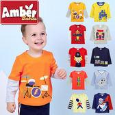 長袖 上衣 t恤 Amber 純棉 男童 交通工具 恐龍 小精靈 小飛機 老虎