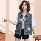 牛仔馬甲女學生工裝韓版春夏新款女裝寬鬆無袖背心馬甲外套