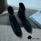 短靴 極簡原色車線圓頭低跟短靴(黑)* an.an【18-C698-1bk】【現+預】