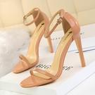 高跟涼鞋女 細跟涼鞋 超高跟漆皮露趾一字帶夏季性感夜店高跟鞋韓版女鞋子【多多鞋包店】ds4602
