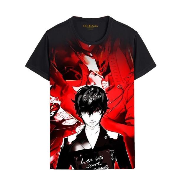 女神異聞錄圓領日系學生短袖T恤 游戲個性印花半袖上衣男士少年潮