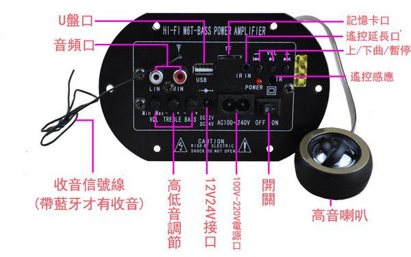 8寸圓形汽車低音炮音響12V24V220V【藍星居家】