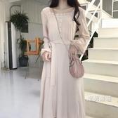 洋裝復古韓國chic風木耳邊燈籠袖溫柔色系高腰繫帶長袖連身裙長裙