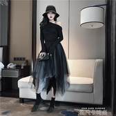 網紅半身紗裙子女裝2019新款秋裝復古氣質網紗小黑裙不規則蓬蓬裙 依凡卡時尚