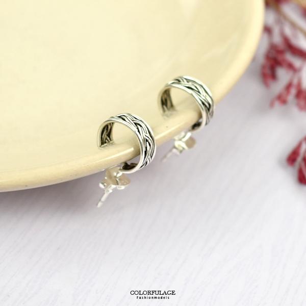 純銀耳環 簡約繩索C圈耳針銀飾NPD219