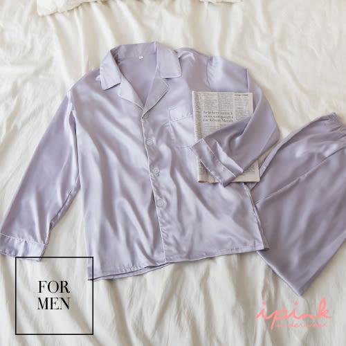 i PINK 甜蜜部屋 頂級絲滑緞面套裝睡衣(男款灰)
