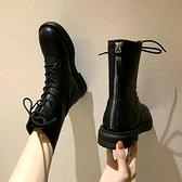 女鞋新款繫帶百搭黑色帥氣短靴後拉錬馬丁靴女英倫風鞋子 【全館免運】
