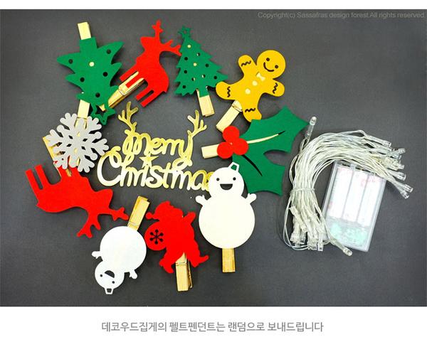 [韓風童品] 聖誕節造型可夾照片LED燈串 聖誕派對裝飾 雪花 聖誕老人 麋鹿 雪人  電池盒