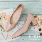 現貨 喜宴穿搭 粗跟高跟鞋 搖滾女孩 尖頭粗跟鞋推薦 好走不磨腳 21.5-28 EPRIS艾佩絲-甜美粉