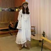 春裝2019新款韓版蕾絲裙子雪紡打底裙寬鬆白色很仙的連身裙女長裙