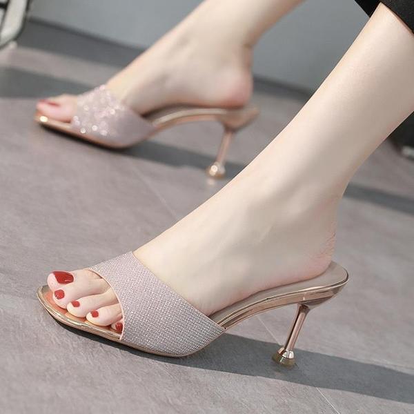 方頭魚嘴拖鞋女春季款水鉆涼鞋中跟細跟性感兩穿仙女風高跟鞋