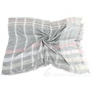 FABIANA FILIPPI 莫代爾羊毛混紡金蔥格紋流蘇圍巾(灰色) 1940299-06