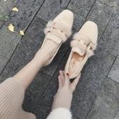 貂毛毛鞋女冬季外穿秋鞋新款秋款粗跟中高跟百搭單鞋  夏季上新