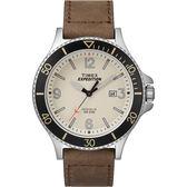 TIMEX 天美時 潛水錶大三針米白色錶盤數字皮帶錶 43mm 夜光面板 TXTW4B10600 公司貨 | 名人鐘錶