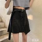 不規則牛仔半身裙 夏季新款學生高腰包臀a字黑色短裙子顯瘦百搭 JX972『優童屋』