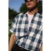 男性格紋襯衫  度假風格紋短袖襯衫 兩色簡約男士格子 珍妮寶貝