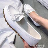 豆豆鞋女2019春季新款平底單鞋牛筋軟底懶人一腳蹬媽媽白色護士鞋 好再來小屋