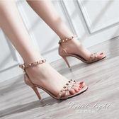 高跟鞋 歐美鉚釘露趾高跟鞋細高跟一字帶涼鞋女時尚水鑚女鞋 果果輕時尚