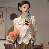 襯衫設計感小眾別致上衣女士夏季薄款新款甜美系抽繩白色襯衣【CH伊諾】