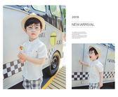 男童襯衫短袖夏兒童純棉半袖T恤純色寶寶白色韓版潮立領上衣