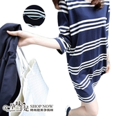 時尚藍白橫條紋孕婦哺乳【橫拉式】上衣 藍【CSH608】孕味十足 孕婦裝