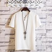 棉麻T恤~亞麻短袖男中國風t恤夏季潮流復古五分半袖寬鬆純色棉麻中袖上衣