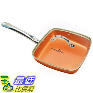 [8美國直購] 陶瓷鍋鈦合金不沾鍋  Copper Chef 9.5 Inch Square Frying Pan With Lid - Skillet with Ceramic