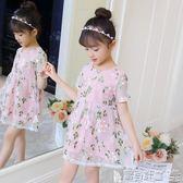 網紗裙 韓版女童裝兒童刺繡花朵公主洋裝寶寶短袖裙子 寶貝計畫