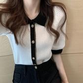 短袖針織上衣 冰絲針織衫女夏季polo領撞色洋氣百搭外穿顯瘦短袖上衣-Ballet朵朵