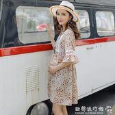 孕婦洋裝  時尚碎花孕婦夏裝韓版喇叭袖雪紡洋裝寬鬆大碼上衣夏季裙子  『歐韓流行館』