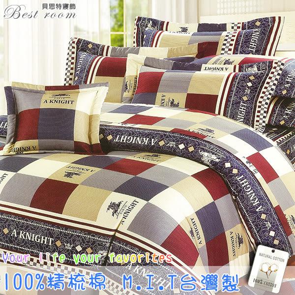 雙人加大床罩組 六件式 100%精梳棉 6*6.2 台灣製造 Best寢飾 FJ693-1