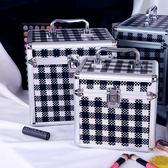 化妝箱 鋁合金化妝箱手提大容量化妝包大小號便攜加高專業收納盒帶鎖男女