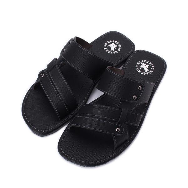 黑騎士 橫帶鉚釘套式拖鞋 黑 男鞋 鞋全家福