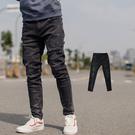 牛仔褲 韓國製微刷色抓破抽鬚彈性合身牛仔...