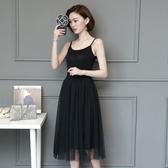 拼接網紗吊帶裙 時尚洋裝背心裙女夏外穿打底裙 降價兩天