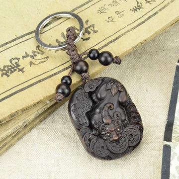 桃木精雕貔貅 鑰匙扣