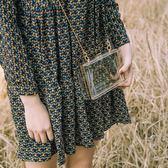 鏈條盒子包小方包港風斜挎包女復古透明包包學生包