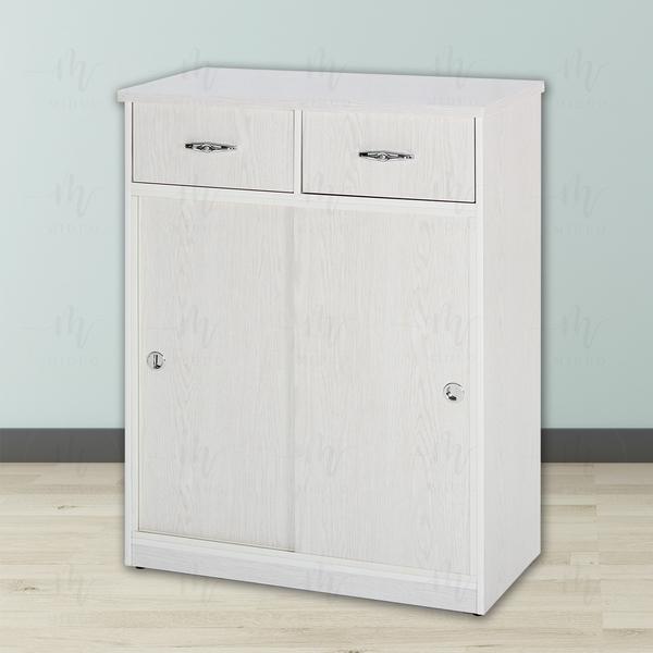 【米朵Miduo】2.7尺塑鋼拉門兩抽鞋櫃 防水塑鋼家具