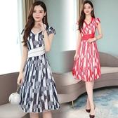 短袖洋裝 2020夏季新款韓版V領印花雪紡連身裙顯瘦氣質中長款A字裙 yu13040『紅袖伊人』