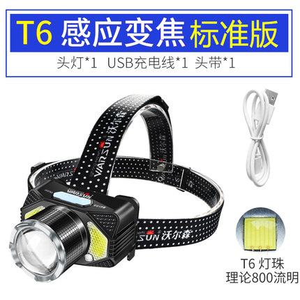 頭頂燈 led感應頭燈強光充電超亮礦燈家用頭戴式手電筒煤炭礦工夜釣魚燈  維多原創