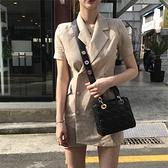 韓國ins夏季復古洋氣修身顯瘦雙排扣氣質西裝領棉麻洋裝女短裙 滿天星
