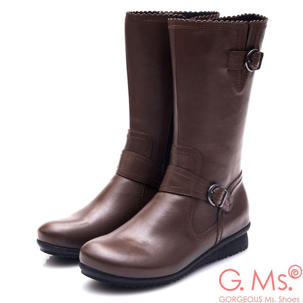 G.Ms. MIT系列-牛皮雙皮帶釦小坡跟中筒靴*咖啡