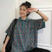 polo衫短袖 超火cec短袖T恤女夏裝新款韓版寬松百搭ins洋氣polo衫上衣潮 曼慕衣櫃