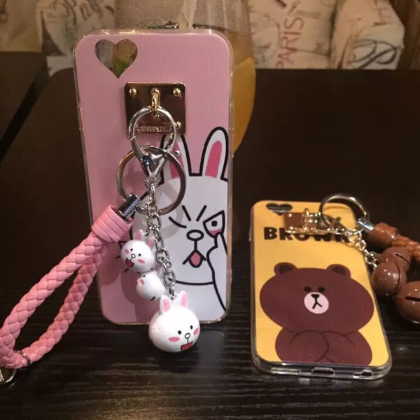 iphone6 免運卡通 動物掛飾鈴鐺iphone6 plus 透明情侣卡通手機軟殼
